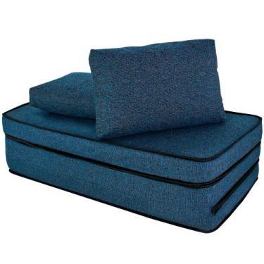 Puff Multiuso 3 em 1 com Travesseiro Azul Casal Tecido e Courino Bf Co