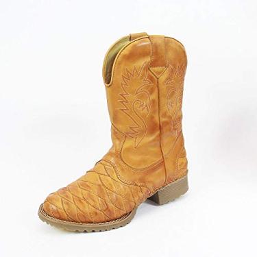 bota masculina, escama, estilo texana em legitimo couro bovino tipo latego, toda forrada, sola de borracha latex, modelo 901 (40, BEGE)