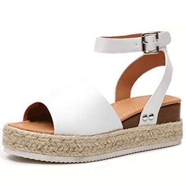 SaraIris sandália anabela para mulheres, sandália plataforma de bico aberto com fivela no tornozelo com sola de borracha, Branco, 6.5