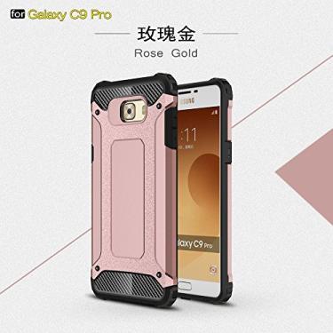 Capa híbrida para Samsung Galaxy C9 Pro, camada dupla, resistente, à prova de choque, policarbonato e TPU + 1 película protetora de tela 9H de vidro temperado, película transparente HD - rosa