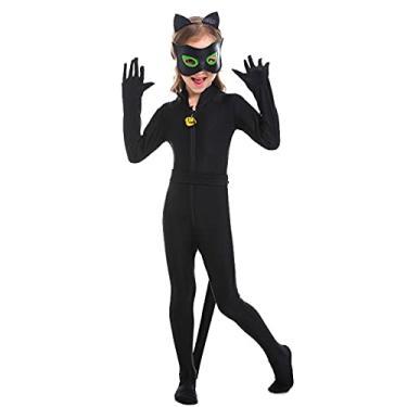 Imagem de Fantasia De Mulher-Gato Infantil De Halloween, Fantasia De Cosplay De Halloween, Macacão De Mulher-Gato De Halloween, Cosplay De Batman Com Máscara e Cinto, Mascaramento De Festa Com Tema De Halloween (L, Black)