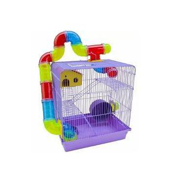 Gaiola Hamster Labirinto 3 Andares Super Luxo Roxo 476b04c075b0c