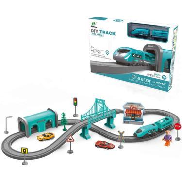 Imagem de Conjunto de trens Nrbecurn para crianças, trilhos de carro, brinquedos de trem movidos a bateria incluem acessórios temáticos, para 3 4 5 6 anos crianças, meninos e meninas (66Pcs) (Tema da cidade)