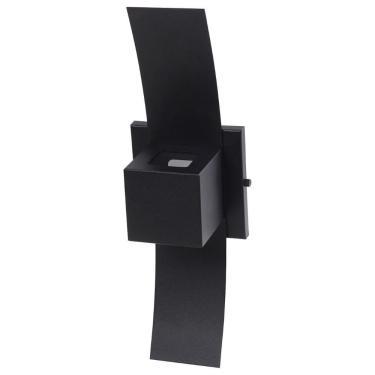 Arandela Box c/ Aba 2 Focos Luminária Externa Interna Parede Alumínio Preto - Rei da Iluminação