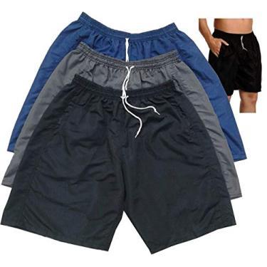 Bermuda Short tactel masculina plus size 50 ao 62 kit c/3 (52, preto cinza azul)