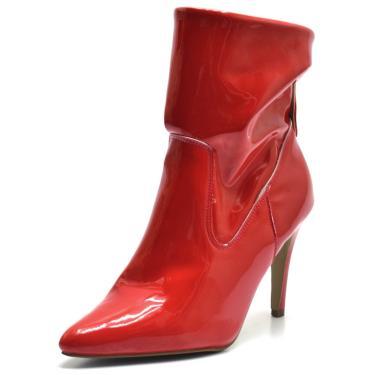 Bota Flor da Pele Verniz Vermelho  feminino