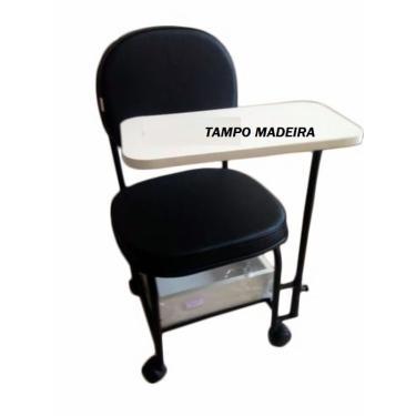 Cadeira Cirandinha Para Manicure Gaveta De Madeira