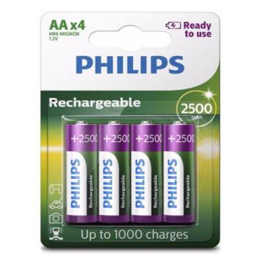 Pilha Recarregável Philips Aa 2500mAh Pequena com 4 Unidades Prontas p