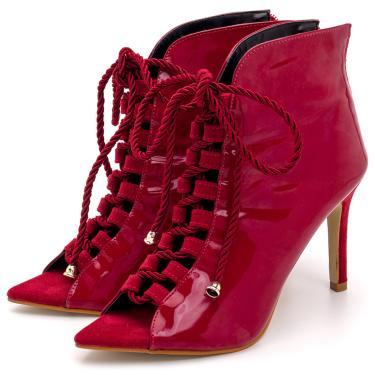 Sandália Bota Ankle Boot Salto Alto Feminina Confortável Em Verniz Vermelho  feminino