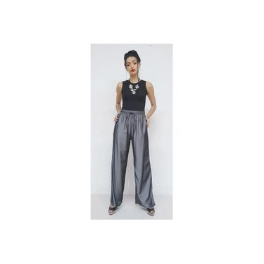 Calça Pantalona em tecido viscose acetinado , MAXMA2670
