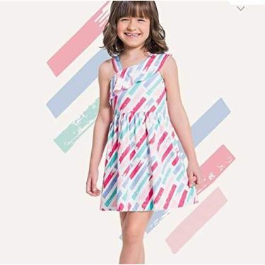 Vestido Menina brandili, Cor Off white - Risca de giz em tons azul e rosa Tam. 4 -