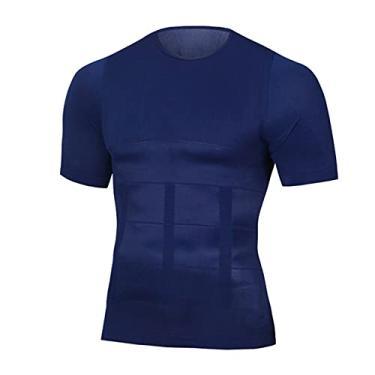 Imagem de Camiseta masculina modeladora refrescante camisa de compressão camisa regata emagrecedora colete de treino abdominal slim modelador corporal azul marinho