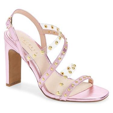 Sandália Cecelia New York Vanessa cravejada rosa gelo bico aberto alto, Ice Pink, 10
