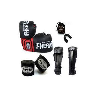 Kit Boxe Muay Thai Luva Bandagem Bucal Caneleira 08oz