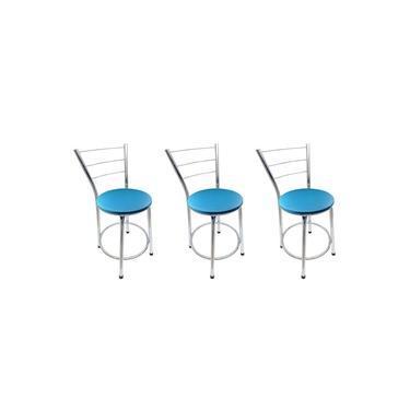 Kit 3 Banqueta Baixa Cromada Com Assento Azul