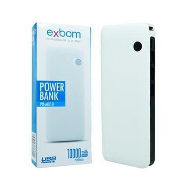 Carregador Portátil Power Bank Bateria 10000 mAh Celular 3 x Usb Lanterna Exbom PB-MX10 Branco/Preto