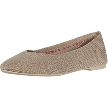 Sapatilha feminina Cleo Skechers - Crave Ballet Flat, Taupe, 8.5