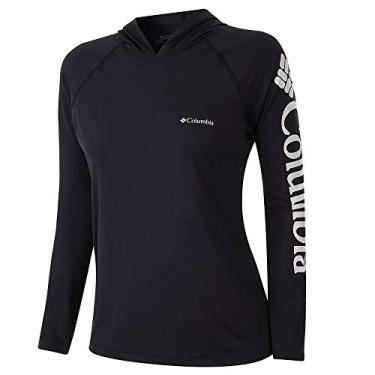 Camiseta Columbia Aurora Manga Longa Com Capuz Feminina -Preto M