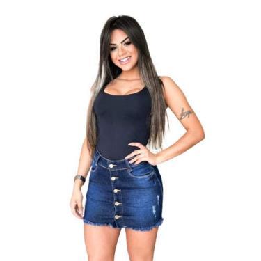 Saia Jeans Com Lycra Roupas Femininas Curta Verão Cós Alto (42)