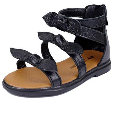 Muy Guay sandália gladiadora com laço e bico aberto para o verão com zíper e tiras para bebês e meninas, Black-b, 7 Toddler