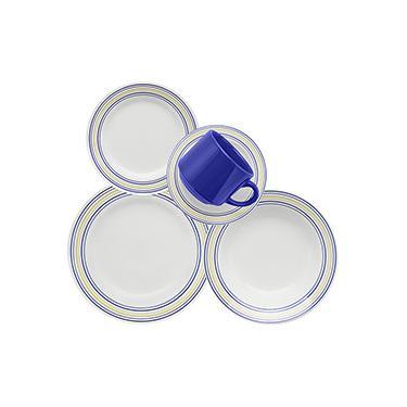 Aparelho de Jantar e Chá 20 Peças Cerâmica Donna Elis Branco/Azul - Biona