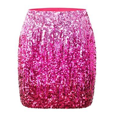 Maner – Saia feminina de paetê elástica e brilhante para festa à noite, Pink/Rose Red/Red, L