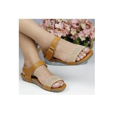 Sandalia Rasteira Andacco Tan/Tan/Ouro/Amarela Feminino 14220