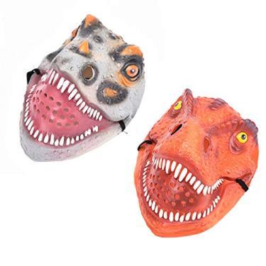 Imagem de NUOBESTY Máscara de Dinossauro de Dia das Bruxas Máscara de Animal para Festa de Halloween Decoração de Fantasia Acessórios Engraçados e Truques (Vermelho Tiranossauro)