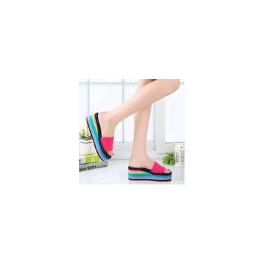 Sandálias femininas antiderrapantes Rainbow de verão feminino chinelos de praia rosa choque / 37 cool22384