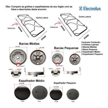 Imagem de Espalhador, Bacia E Grelhas Fogão Electrolux 4 Bocas 56 Dab
