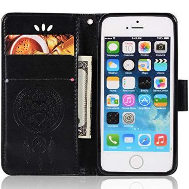 Capa de couro para iPhone 5S, capa carteira para iPhone SE, capa flip floral em couro sintético com suporte para cartão de crédito para iPhone 5S, iPhone SE, iPhone 5 de 4 polegadas