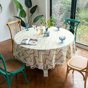 Imagem de Jun Jiale Toalha de mesa bordada com borla - Toalha de mesa 100% algodão de linho para cozinha | Jantar | Mesa | Decoração | Festas | Casamentos | Primavera/Verão (redondo, 87 diâmetros, listras azul celeste)