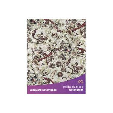 Imagem de Toalha De Mesa Retangular Em Tecido Jacquard Estampado Floral Bege E Marsala