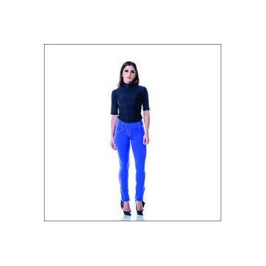 Calça feminina Lizerrô Reta Amni Plus Size Azul