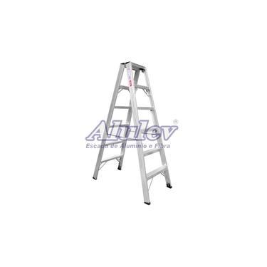 Escada De Pintor Alumínio Ap108 Alulev Profissional 2,40 m 8 Degraus