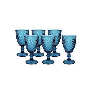 Conjunto de 6 Taças de Água em Vidro Bico de Abacaxi 300 ml Azul