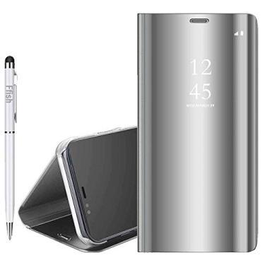 Capa espelhada de luxo Ffish Huawei P20 Pro, [Tecnologia de revestimento de metal] [Janela de visualização translúcida] Capa protetora magnética ultrafina e leve para Huawei P20 Pro - Prata