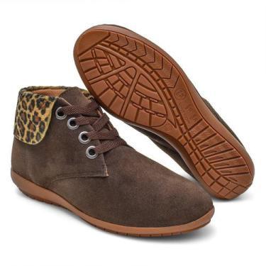 Imagem de Bota Cano Curto Feminina Conforto Gomeshoes - Onça - Gomes Shoes