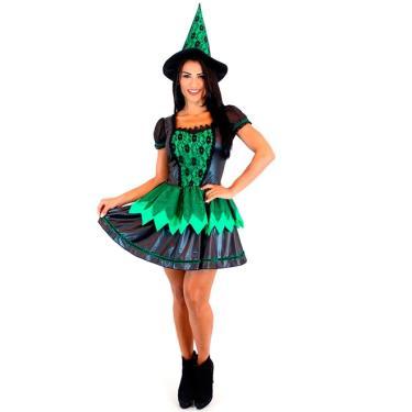 Imagem de Fantasia Bruxa Wicked Adulto Halloween Com Chapéu