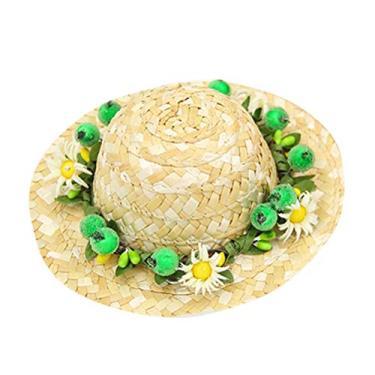 1 peça para cachorros de estimação Chapéu de palha Chapéus de sol Margarida Chapéu de palha Acessórios para cachorros estilo havaiano (verde Daisy M)