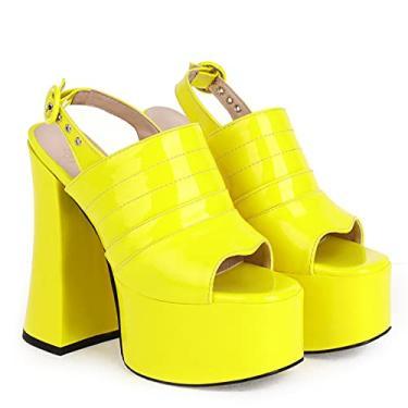 Imagem de SaraIris Sandálias femininas de verão com bico aberto e fivela no tornozelo, salto alto grosso, sandálias punk góticas para mulheres, 2 Amarelo, 8