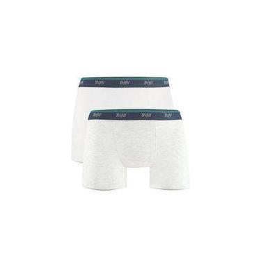 Kit Com 2 Cuecas Boxer Trifil Em Algodão Com Elastano Branco/mescla Claro