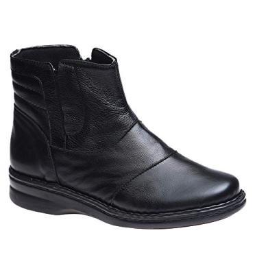 Bota Feminina em Couro Roma Preto 373 Doctor Shoes-Preto-37