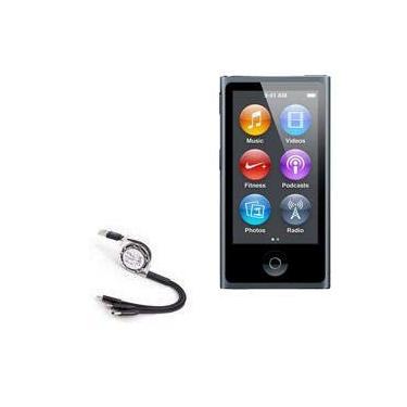 Cabo USB retrátil e portátil BoxWave para iPod Nano 7 [AllCharge miniSync] para Apple iPod Nano 7 – Preto Jet