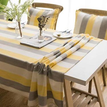 Imagem de Toalha de mesa moderna minimalista nórdica listrada à prova d'água moderna toalha de mesa simples toalha de mesa - listras amarelas cinzas, 135 x 160 cm