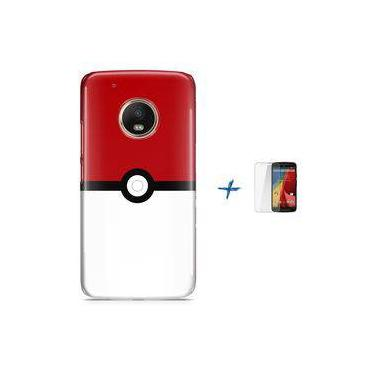 Kit Capa TPU Moto G5 Plus Pokemon Go Pokebola Pokeball + Pel Vidro (BD01)