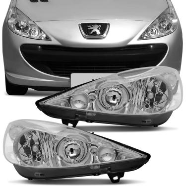 Farol Peugeot 207 2007 2008 2009 2010 2011 2012 2013 2014 2015 Máscara Cromada Foco Duplo Lado Direito Passageiro