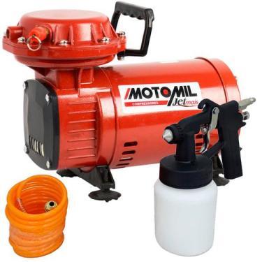 Compressor Ar Direto 1,3 HP Motocompressor Jetmil Bivolt com Kit MOTOM