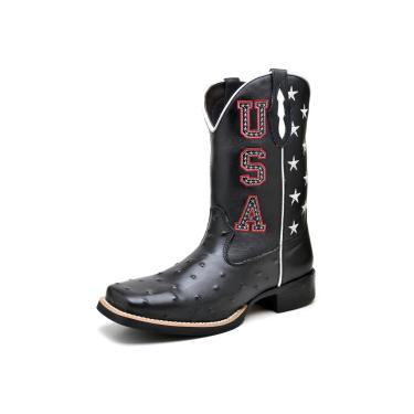 Bota Texana Click Calçados Cano Longo USA Preta Em Couro  masculino