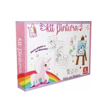 Imagem de Kit Pintura Unicórnio Cavalete Em Madeira 45cm Com 13 Peças - Brincadeira De Criança